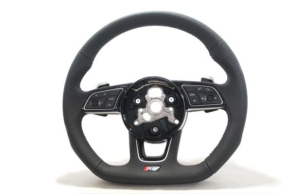 画像1: Audi 純正 New RS5 Coupe (F5) フラットボトム ステアリング (パンチングレザー) (1)