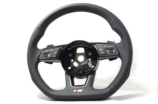 画像1: Audi 純正 New A4(8W)/A5(F5) S line フラットボトム ステアリングホイール (1)