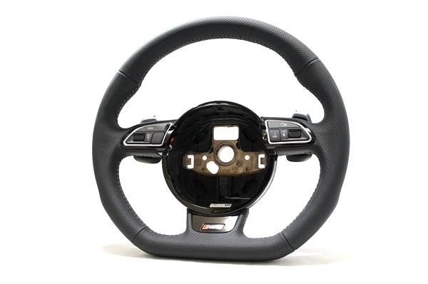 画像1: Audi 純正 RS6 (4G/C7) フラットボトム ステアリング ホイール (1)