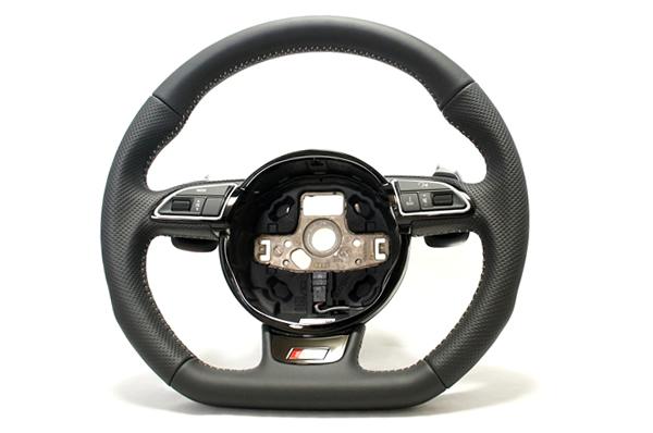 画像1: Audi 純正 A4/S4(8K/B8.5), A5/S5(8T), Q5/SQ5(8R), Q7(4L) S-line フラットボトム ステアリングホイール (1)